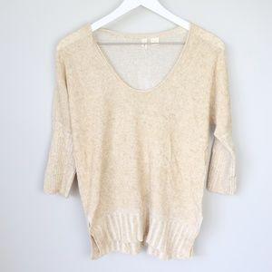 Moth Anthropologie Tan Scoop Neck Sweater